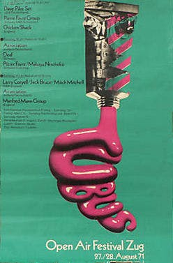 Poster Open Air Festival, Zug, Switzerland.  27/28 Aug 1971