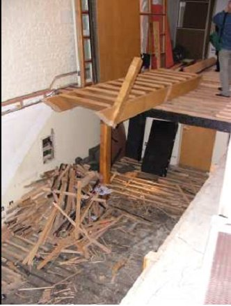 Caption: The Studio One recording area, stairs taken out.  Note the burned beam (right hand side), a legacy of the infamous fire. (Photo: Nigel Stanworth)