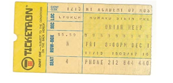 MMEB Ticket Stub - New York Academy of Music (New York, NY) - December 15, 1972