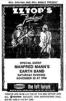 Poster - Felt Forum, New York USA 22-11-75