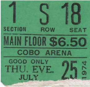Ticket Stub - Detroit, Michigan, USA Cobo Arena