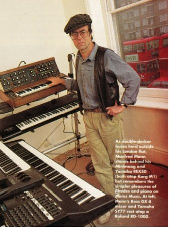 Photo: Keyboard Magazine.  Despite the text on the photo, the 'flat' was in fact an office that was changed into a rehearsal room for MMEB to rehearse the set for the 1991 comeback shows.