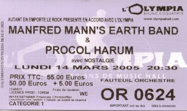 MMEB Ticket Stub Olympia, Paris (March 2005)