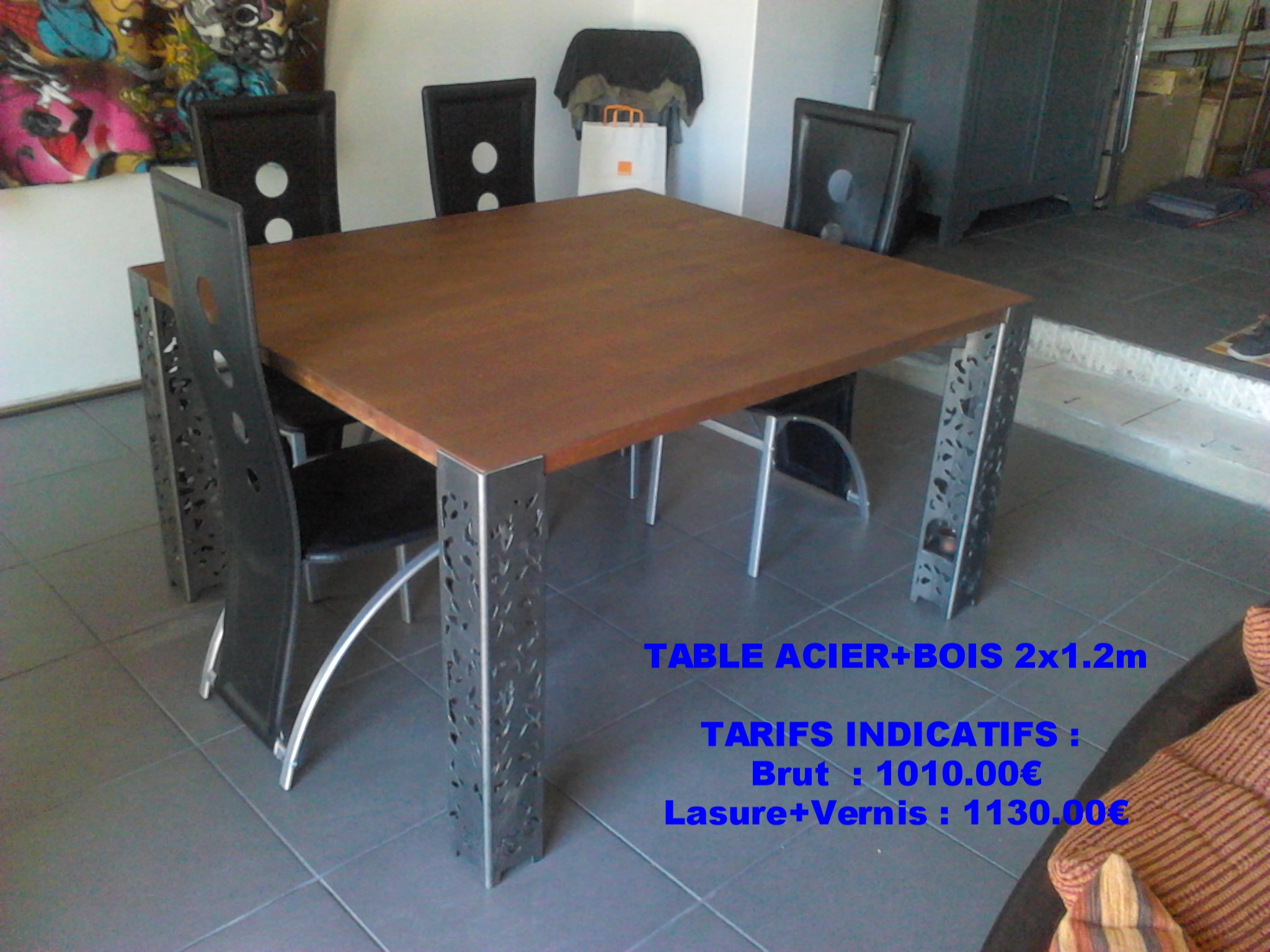 Table Métal + bois personnalisée