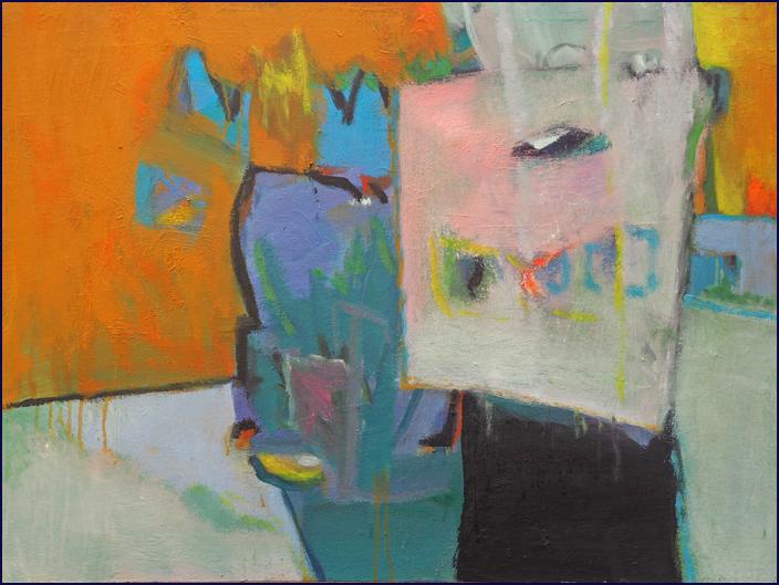 Zwei Figuren vor Orange - Öl auf Leinwand 45 x 65 cm - € 500,-