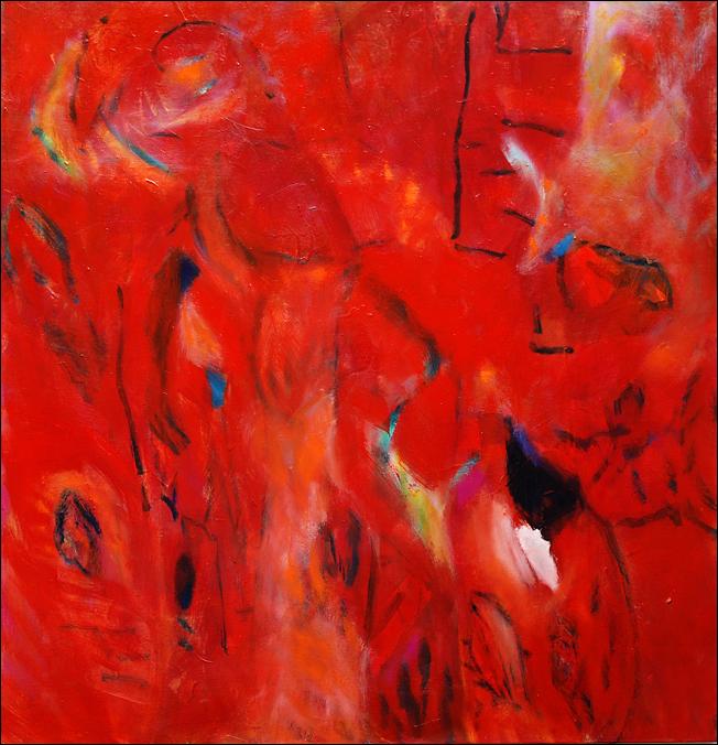 """""""Großes Rot"""" Öl auf Leinwand 100 x 100 cm € 700,-"""