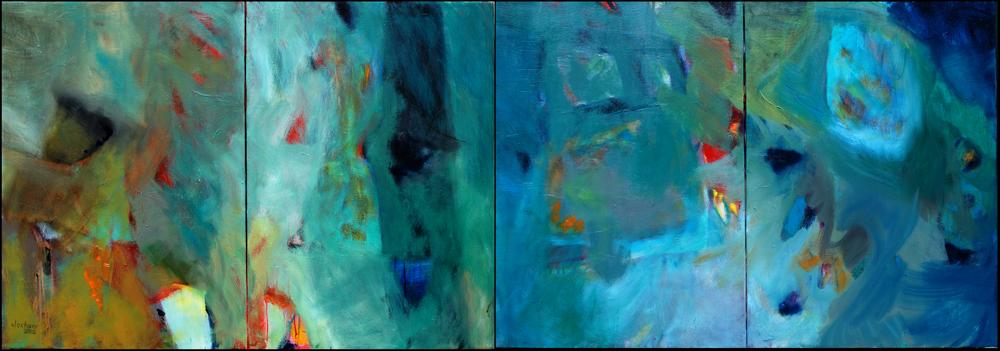 """Siamo vivi!"" Öl auf Leinwand 70 x 200 cm (vierteilig, 4 x 70 x 50) € 1.200,-"