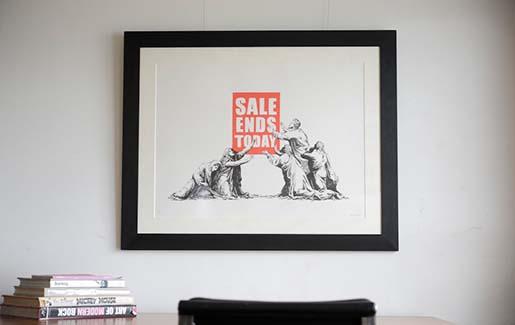 Banksyの【SALE ENDS】を額装しました。(その2)