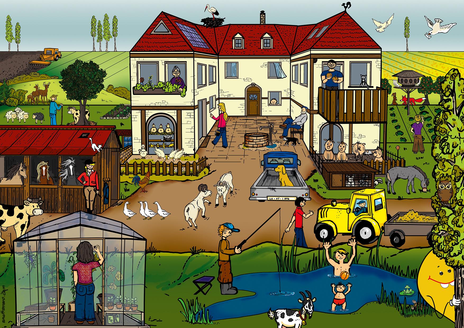 """Wimmelbild  """"Lufti - Bauernhof"""" / digitale Zeichnung / für TEVA / www.aktiv-inhalieren.de"""