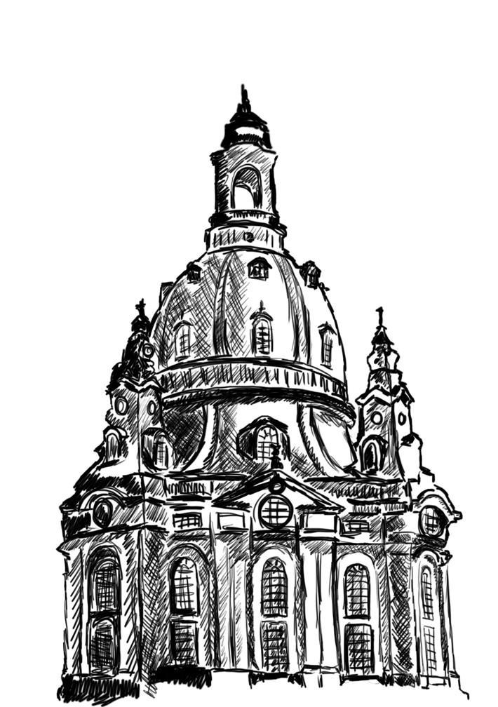 Skizze Frauenkirche Dresden / Edding