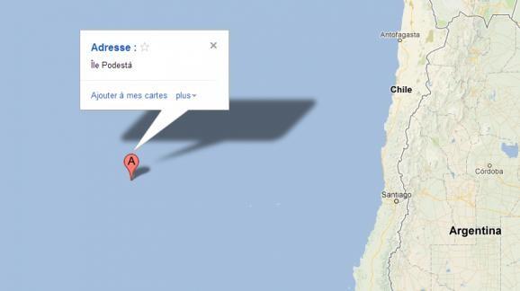 L'île de PODESTA telle qu'elle apparaît sur Google Maps. Incontestable, non ?