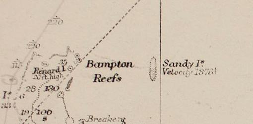 Carte britannique de 1908, indiquant la position supposée de l'île de Sable et le nom du baleinier Velocity, ayant le premier fait état de cette île en 1876.