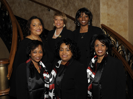 Chapter Charter Members - First row (l to r): Phoegina Brown, Earline Barnes, Letitia Lovely Robinson; Back row: Deborah Vaughn Biddle, Myla Smith Meeks, Patricia Haley Glass. Photo taken at SHAC 20th Anniversary 2011.