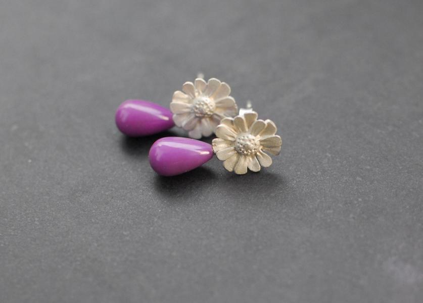 Gänseblümchen, Silber, mit Heterosit-Pampeln zum Abnehmen