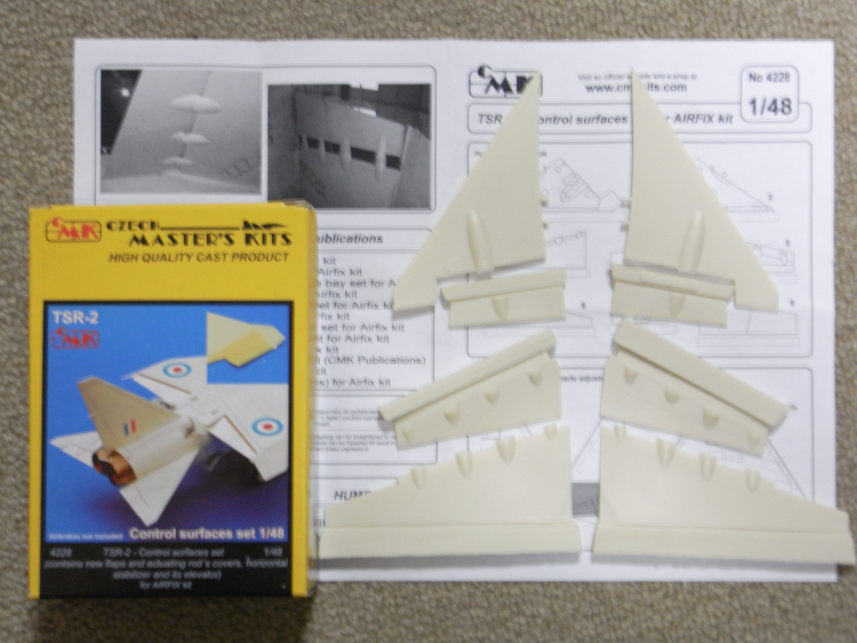 CMK 1//48 TSR-2 Control Surfaces Set for Airfix # 4228