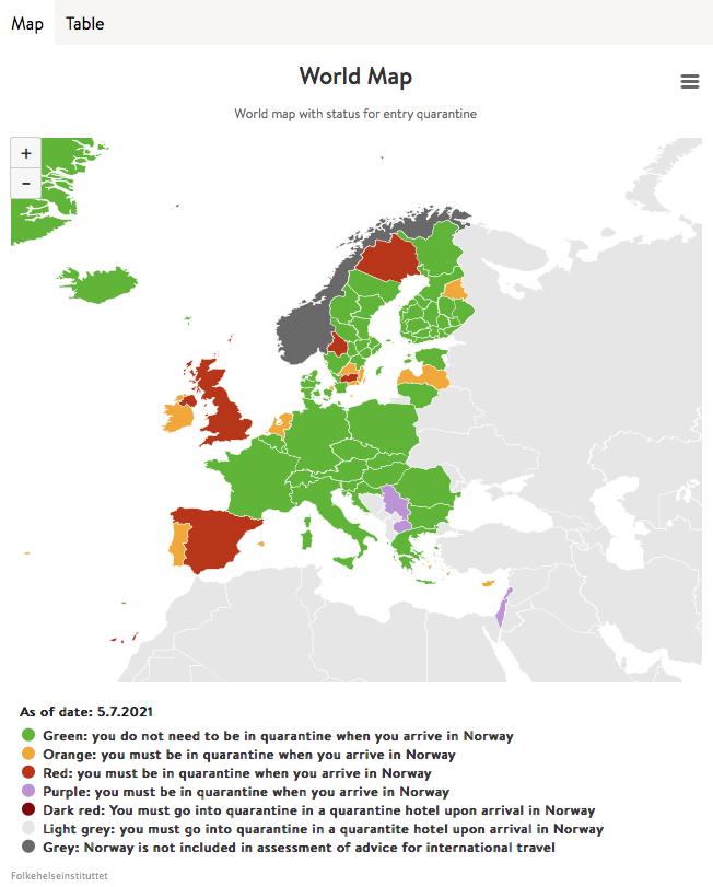 Einreisebestimmung Norwegen