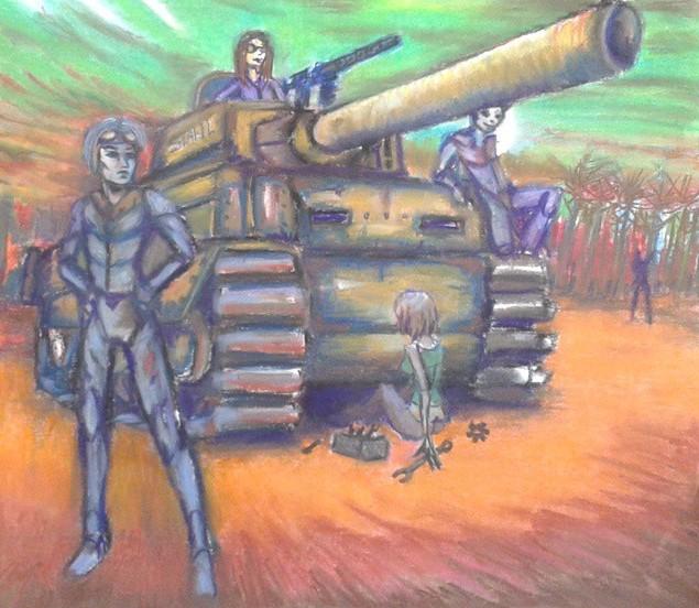 Stahl, pastel op papier, ca 2015, verkocht
