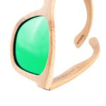 Bambus Sonnenbrille mit grünen Linsen
