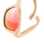 Bambus Sonnenbrille mit roten Linsen