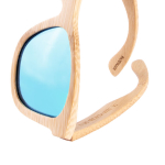 Bambus Sonnenbrille mit blauen Linsen