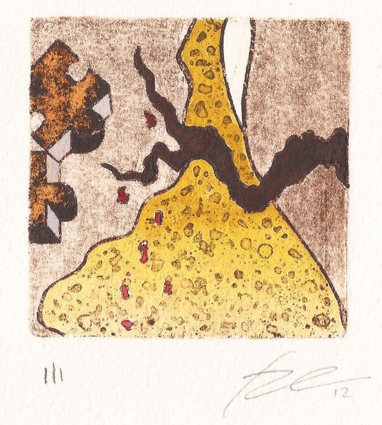 The flower and the tea_ intaglio with watercolor_ 7,5 x 7,5 cm_2012