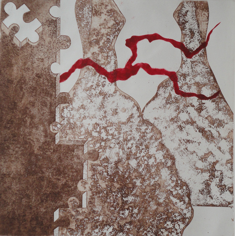 Lost III-2 - intaglio with red ink_ 50 x 50cm_ 2012