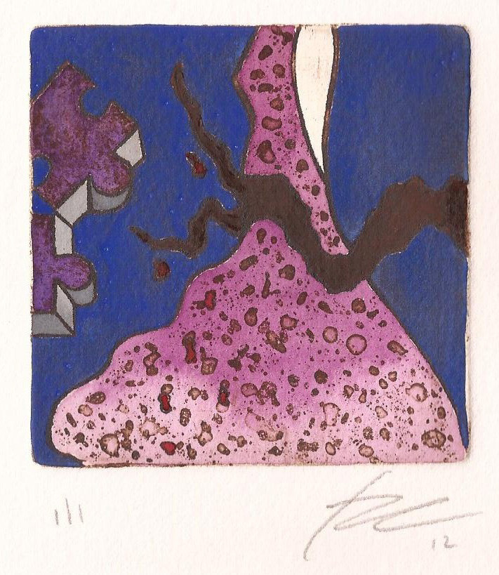 The flower and the tea_ intaglio with watercolor _ 7,5 x 7,5 cm_2012