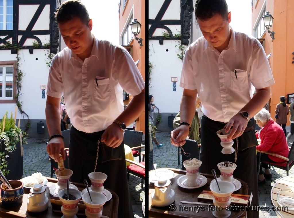 ein Rüdesheimer-Kaffee wird hier zelebriert