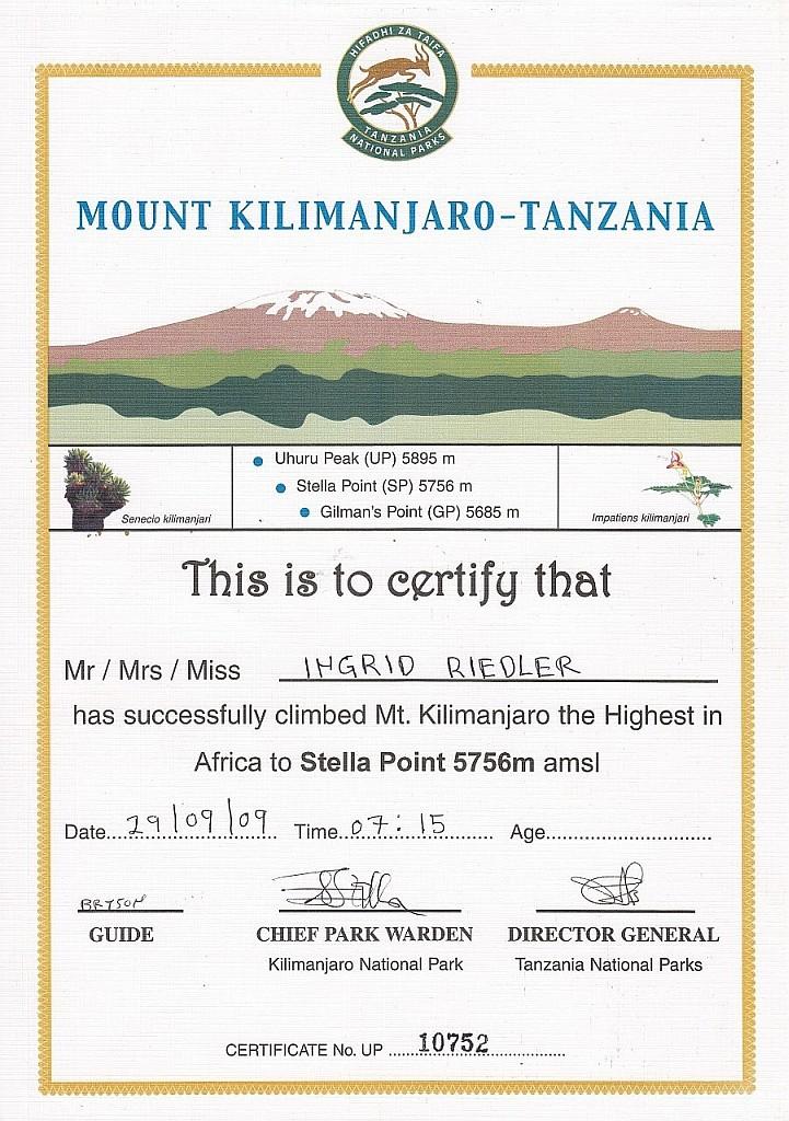 Urkunde für die Erreichung eines der Gipfel