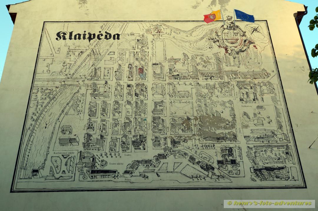 Stadtplan von Klapeida, dem ehemaligen deutschen MEMEL