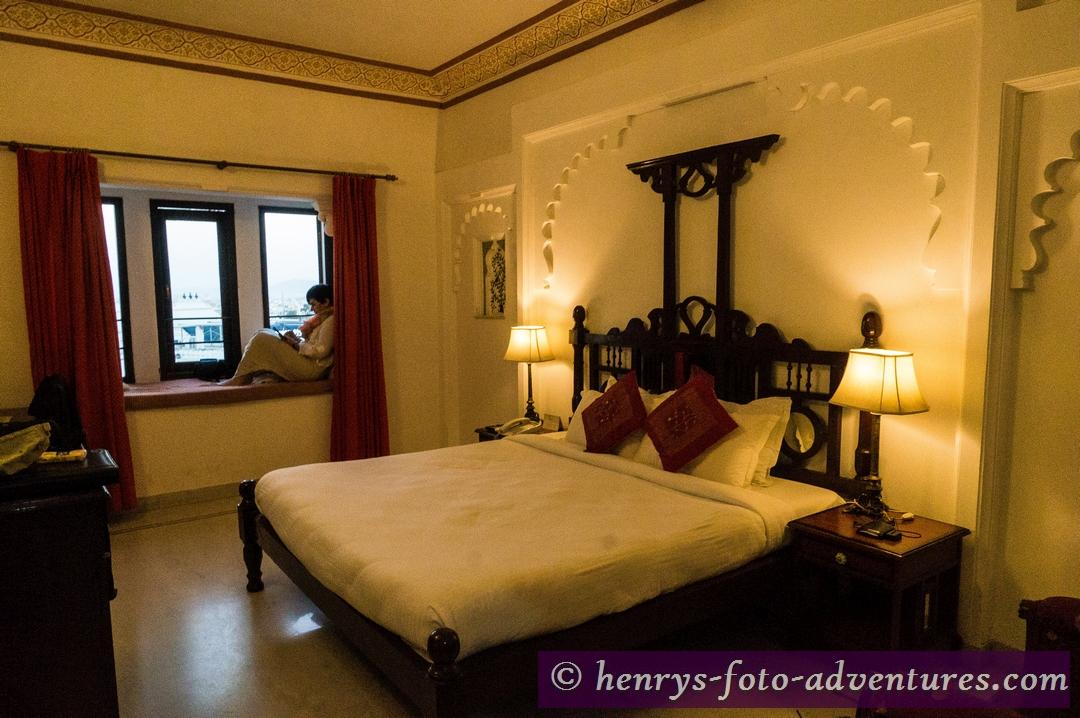 """Udaipur, """"Hotel Swarop Vilas"""", ein riesiges Zimer mit toler Ausicht"""