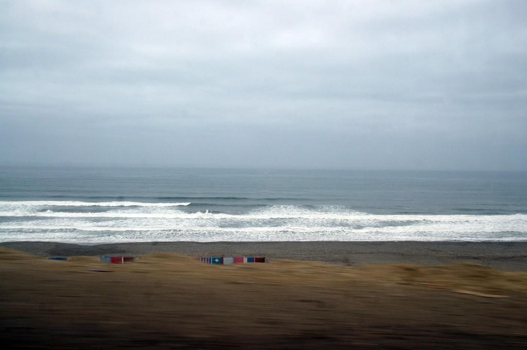 der Pazifik empfängt uns leider mit unfreundlichem Wetter,