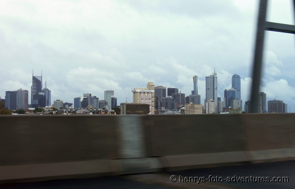 Ankunft in Melbourne bei Regen