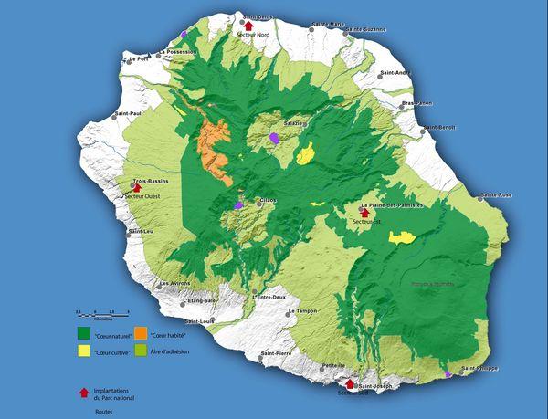 Carte des aires du parc national de la Réunion. Source : parc national de la Réunion.
