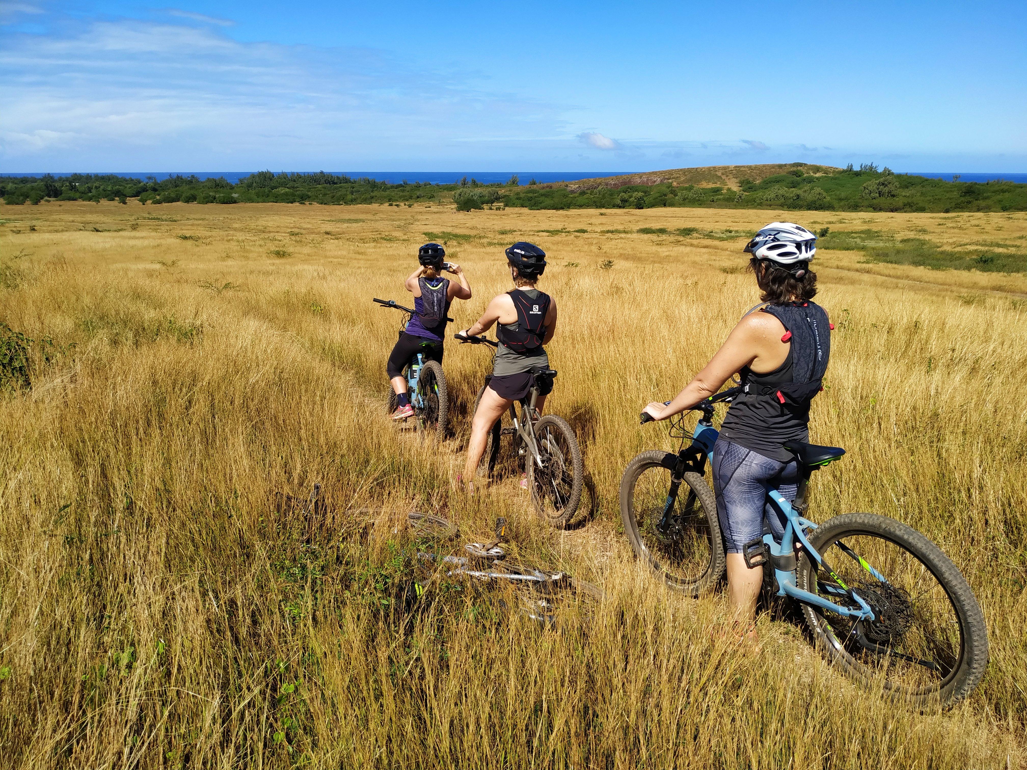 ride en vélo tout terrain dans la savane du cap la houssay à saint gilles avec un guide ayapana