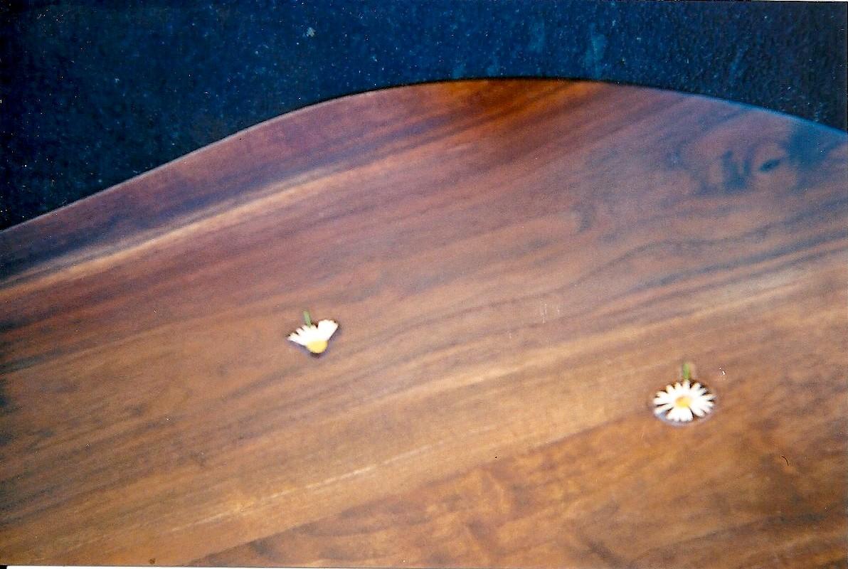 Ebénisterie, Marguerites sur le plateau de table