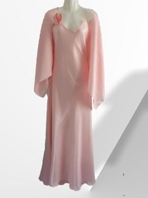 Langes Abendkleid in rose ca. Gr. 42 von Yves Calin mit passender Stola, made in France  - nur 19 € + Versandkosten nur 3,90 € - einmalig pro Bestellung!