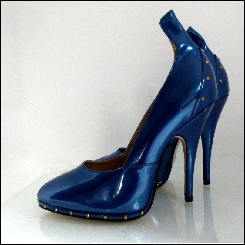 Goldenen Von Heels Mit Nieten Yasmina Metallic Blau High Wissmann Jcl1KFT3