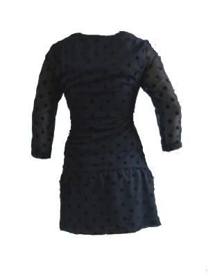 """Kleid """"Portmond"""" von VILA: Semi-transparenter geflockter Stoff auf blickdichtem Unterkleid, tief angesetzte Hüftpartie mit dezenten Rüschen - UVP: 44,95 € - bei uns nur 26 €"""