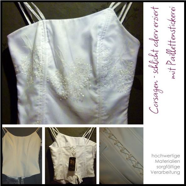 Weiße Corsagen - perfekt auch als Teil der Brautmode