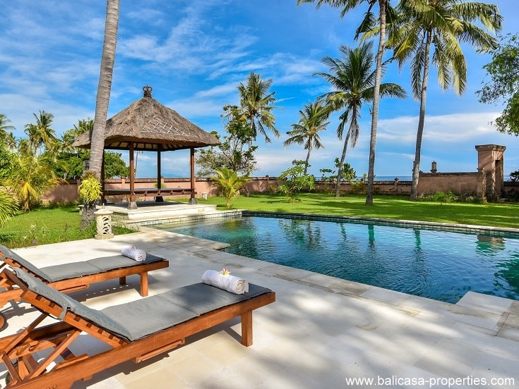 Tropical beachfront villa for sale in Brongbong North Bali