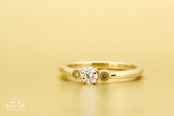 フルオーダーエンゲージリング(婚約指輪)完成写真1