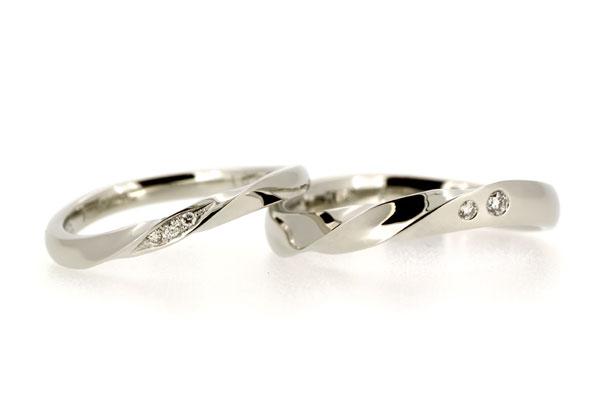 フルオーダーマリッジリング(結婚指輪)完成写真、プラチナ900・ダイヤモンド