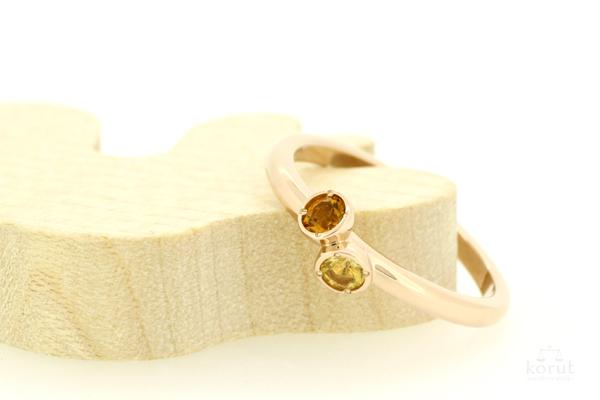 シトリンとピンクゴールドのリング(指輪)