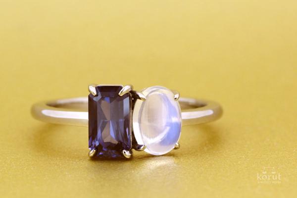 スピネルとムーンストーンのリング(指輪)