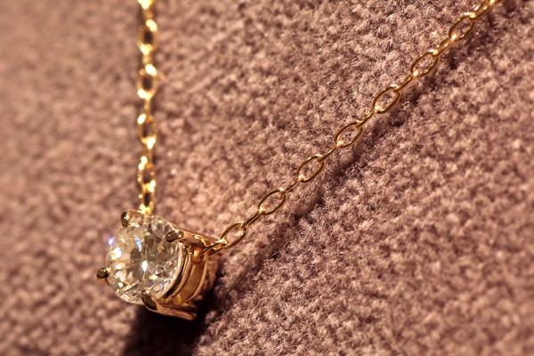 一粒石ダイヤモンドペンダントのバリエーション、18金ピンクゴールド、四本爪