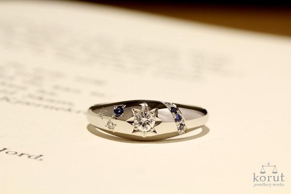 ラウンドブリリアントカットのダイヤモンドとブルーサファイヤを使ったプラチナ製リフォームリング完成写真