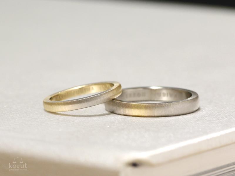 ゴールドのグラデーションのマリッジリング(結婚指輪)