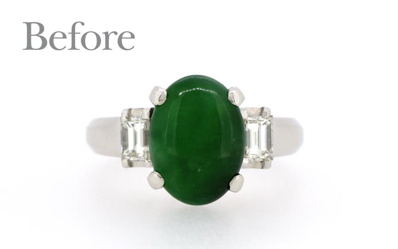 翡翠とダイヤモンドの指輪。リフォーム前。