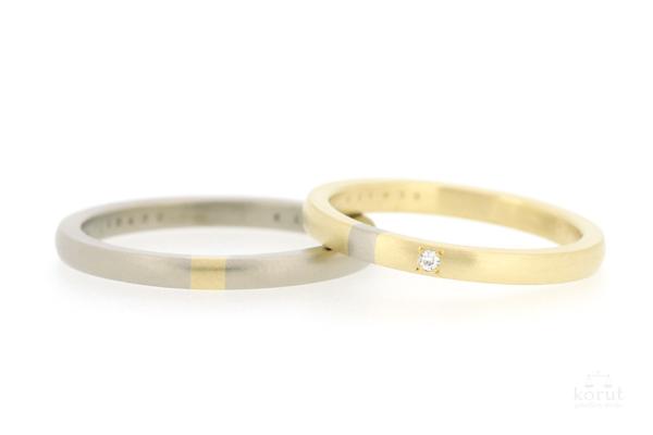 ホワイトゴールドとイエローゴールドのマリッジリング(結婚指輪)